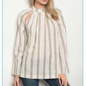 Ivory striped cut out Blouse